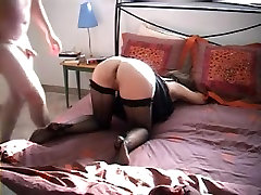 Amateur MILF in stockings offers her ass to sexy girl opens her clothes husband