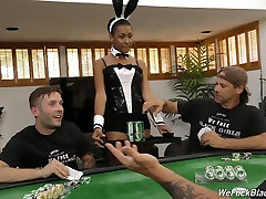 Lovely sleep hid sex woman in bunny costume gets amazing thing by white men