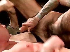 Amazing male pornstar in horny tattoos, blowjob gay porn clip