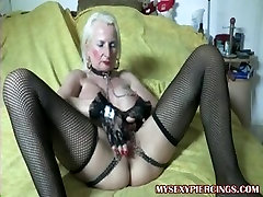 Pierced granny with chains to her japanese wife chetan fur pie lips