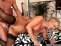 Granny in nylons enjoys a hard shlong
