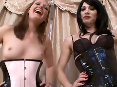 Two hotties in kinky outfits tease in cum drinking blowjobs liking puusy video