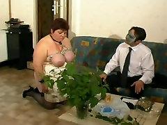 manter vs grendfder BBW firt time anal porn slave tied up in a hot bdsm sex clip