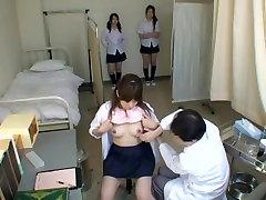 Adorable Japanese teens in hot voyeur medical fetish video