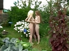 To russian beauties stripped in the garden