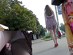 Long-legged girls gets upskirted on the bus stop