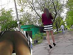 Transparent pantyhose and pretty ass get upskirted
