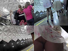 Blonde milf shows off sexy legs in candid upskirts