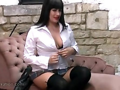 Hot college babe turns into sexy dominatrix wearing leather
