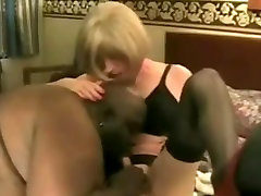 Fat black husband cant resist his white tranny wife