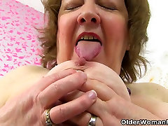 British cudai vedio downlod Susan feeds her hungry cunt with dildo