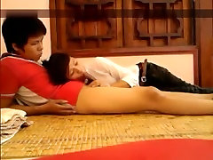 seoul cuties invisible van for massage girl has oral, missionary and cowgirl sex with her bf.