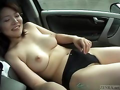 Subtitled pale and curvy japese tigh wife masturbation in car