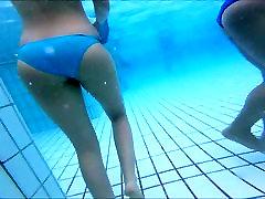 nice girl out and into pool bikini great ass