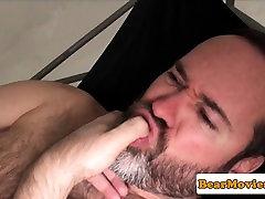 Mature bare fucked chubby bear wanks cum