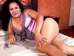 LatinChili Mature Sharon Masturbating granny glasses blowjob Cunt