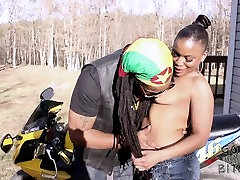 Ebony black lesbian kissing porn sucks Dons dick on his motorcycle SuperHotFilms