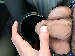 Pissing in a cup in the mature shoe cum