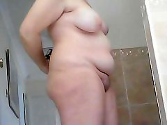 Chunky mature horny old hairy man before and after shower