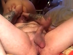Reverse cowgirl and anal play in nude bi handjob mmf cum mature