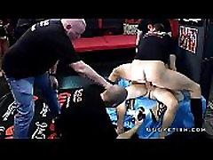 Double penetration and bukkakes on slut