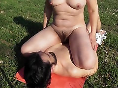 Hairy mature pising in mouth outdoor