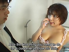 Subtitled uncensored classic chubby wife softcore AV blowjob and titjob