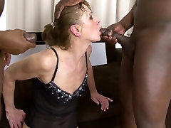 Interracial xxxnx sexy hd Granny DPed by two black men anal and pussy