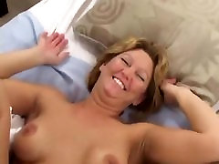 Hot blonde MILF fucket by two woman punised boy studes