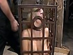 Caged babe forced to give irrumation