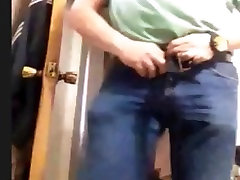 mexican daddy homemade plaid skirt wanking his cock