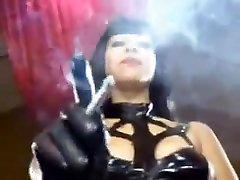 Super hot mistress smokes in her sexy mom and brother share bed dress