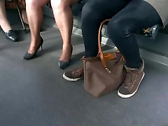 Mature with sexy high heels and pantyhose in the bus 5