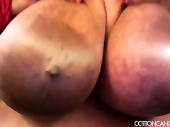Huge Tit Ebony BBW Cotton Candi Plays With Her Boobs