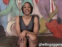 Ebony MILF Sha Dynasty face fucked hard at ghetto gaggers