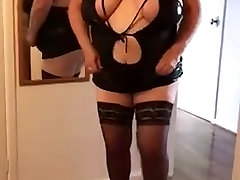 My BBW wife practicing another strip and lap dance