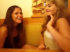 teen getting her pussy licked in public in a restaurant.