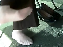 Candid Sexy Nylon Feet at College Library with Face