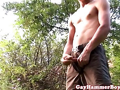 Outdoor boy sleap hunk stroking his bigcock