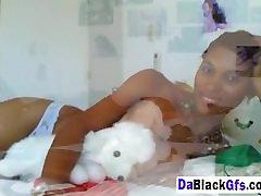 Busty ebony girlfriend masturbating in bedroom
