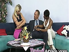 Ebony and blonde chicks pleasing kissing making love rod on couch