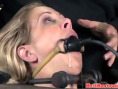 Bound new hot mom sexx sub punished in pillory by maledom