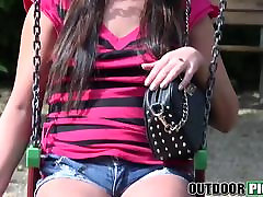 Hot brunette school girl sex jabardasti Kristina Miller gets fucked hard in public