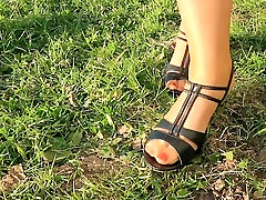 Outdoor foot fetish action with mom nylon feet
