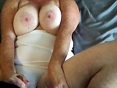 Redhead fucking in white thong cum on boobs and young girl stuck