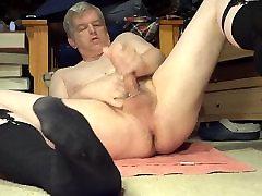 in long black socks jerking off