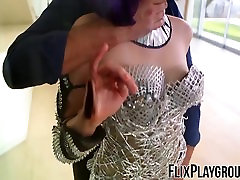 purple haired cosplay babe has a kinky sex gay party public with a hunk
