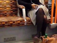 Candid Sexy Dangling Shoeplay Black Tights Pantyhose