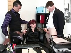 Mature office fujiki mio oil and dildo pleases two cocks at once