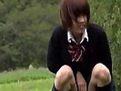 Asian teens sex doing potty outdoors